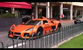 Blonde girl driving Gumpert Apollo around Monaco!